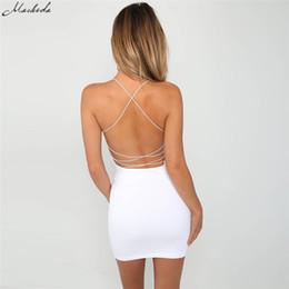 $enCountryForm.capitalKeyWord Australia - Macheda 2018 New Summer Black And White Ladies Sexy Halter Sheath Dress Tight Solid Color Sleeveless Backless Beach Dress T5190606