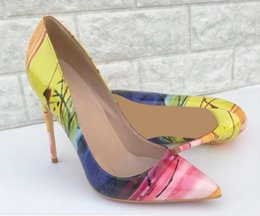 Wholesale yellow dress code resale online – new yellow Single shoes Cusp Fine heel Women s high heel shoes cm cm small Big code Banquet Nightclub dress wedding Red bottom shoes