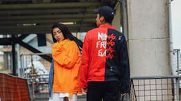 English pockEts online shopping - Men s Hip Hop High Street Jackets Kanye Loose Oversize Hit Color English Denim Jacket Pure Cotton Stand Collar Side Pockets Top