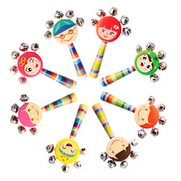 Baby Rattles Australia - Wooden Smiley Cartoon Rattle Baby Rattle Bell Smile Face Rattle Drum Cartoon Hand Bell Toys Musical Instruments Double Wave Kettle