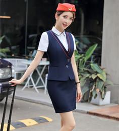 $enCountryForm.capitalKeyWord NZ - Formal Women Business Suits Skirt and Top Sets Ladies Work Wear Waistcoat & Vests Navy blue Office Uniform Style