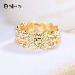 14k Diamond Cluster Ring Australia - BAIHE Solid 14K Yellow Gold 0.95ct Certified F-G SI Round Full Cut 100% Genuine Natural Diamonds Women Trendy Fine Jewelry Ring