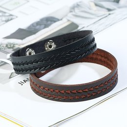 $enCountryForm.capitalKeyWord NZ - Men Jewelry Bracelet Punk Handmade Braided Bracelet Clasp Mens Wrist Band Leather Bracelet