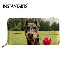 $enCountryForm.capitalKeyWord Australia - INSTANTARTS Long Wallets Zipper PU Purse For Female Cute Dogs Doberman Printed Women Purse Lady Card Holder Coin Money Organizer