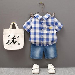 $enCountryForm.capitalKeyWord Australia - New Summer Kids Short Sleeve Suit, Chequered Smiling Face, Turn-over Collar, Short Sleeve Short Pants Two-piece Suit