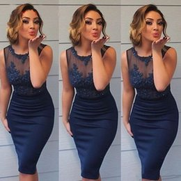 MyriaM fares hot dress online shopping - Sexy Navy Blue Cocktail Dresses Sheer Neck Applique Beaded Short Evening Dresses Hot Sale Celebrity Party Prom Dresses Myriam Fares