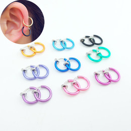Punk Rings Australia - Hot 1 Pair 13mm Women Personality Punk Fake Piercing Earrings Body Piercing Nose Lip Ear Rings Hoop