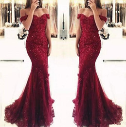 sequin lace short prom dresses Canada - Junoesque Burgundy Lace Mermaid Prom Dresses Appliques Off the shoulder Beaded Sequins Long Prom Gowns custom made Evening Dresses