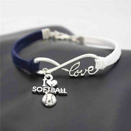 $enCountryForm.capitalKeyWord Australia - New Womens Mens Jewelry Punk Navy Blue White Braided Leather Suede Rope Bracelet Silver Infinity Love I Heart Softball Fashion Bangles Gifts
