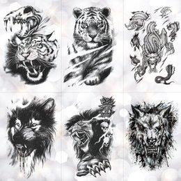 $enCountryForm.capitalKeyWord Australia - Tiger Skull Leopard dragon Waterproof Temporary Tattoo Sticker Wolf Animals Tattoos Body Art Arm Hand men Fake Tatoo
