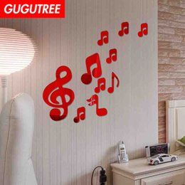crystal mirror art Canada - Decorate Home 3D muisc cartoon mirror art wall sticker decoration Decals mural painting Removable Decor Wallpaper G-250