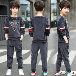 korean sport suits 2019 - Autumn Winter Wear 2019 New Suit Children Winter Two Sets of Long-sleeved Korean Version of Sports Fashion Boy cheap kor