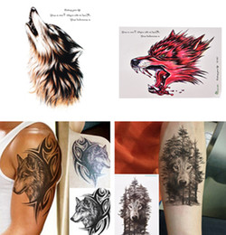 2ca8cf092 1Pc Waterproof Temporary Tattoo Sticker Wolf Forest Animal Tree With  Feather Stickers Flash Fake Arm Tattoos For Women Men
