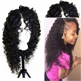 Black Wigs Highlights Australia - Top Quality 180% Density Kinky Curly Type Kanekalon Heat Resistant Hair Black Highlight Gold Women Makeup Synthetic Lace Front Party Wigs