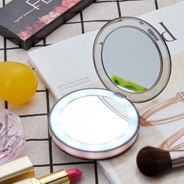 Induction Glasses Australia - LED Light Mini Makeup Mirror Travel Portable Induction Lighting Makeup Mirror Fashion Cosmetic Beauty Magnifying Glass