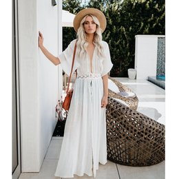 beach maxi dresses short sleeves Australia - Loose V Neck Bohemian Maxi Dresses for Women Short Sleeve Pure Color Summer Beach Dresses Empire with Belt Vestidos