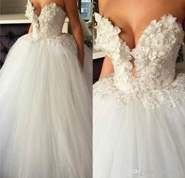 Images Brooch Flowers Australia - 2019 Sexy A Line Wedding Dresses Sweetheart Illusion Lace Appliques Flowers Tulle Crystal Beaded Sweep Train Plus Size Formal Bridal Gown