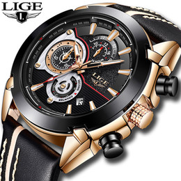 sinobi quartz watch men Australia - Lige Mens Watches Top Brand Luxury Quartz Gold Watch Men Casual Leather Military Waterproof Sport Wrist Watch Relogio Masculino Y19061905