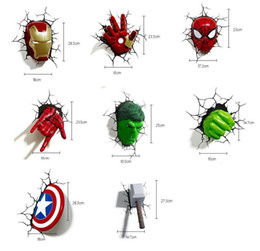 Wholesale 185 epacket Manway Avenger Alliance Raytheon Hammer Spider Man Iron Man Hulk Glove Mask LED Bedside Bedroom D Decorative Wall Lamp