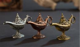 Wholesale tea rooms for sale – custom Hot Excellent Fairy Tale Aladdin Magic Lamp Incense Burner Vintage Retro Tea Pot Genie Lamp Aroma Stone Home Ornament Metal Craft DHL Free