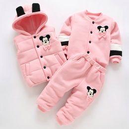 Velvet Tops For Winter Australia - Hot 3Pcs 2018 Baby Kids Winter Clothing Set Newborn Thick Cotton-Padded Clothes for Boys Girls 0-3Y Hooded Vest Coat Tops