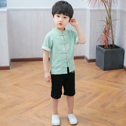 Chinese Suits Australia - Children's cotton and linen Tang suit summer thin section Hanfu suitable for 7-8 years old boy Chinese style 26