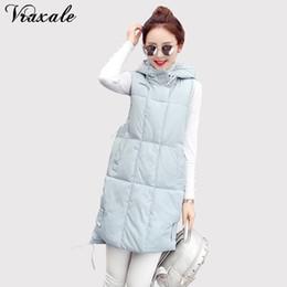 fashion winter vest woman 2019 - Vraxale Winter New Cotton Vest Women Medium-long Fashion Casual Waistcoat Warm Hooded Vest Female discount fashion winte