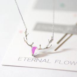 $enCountryForm.capitalKeyWord Australia - 925 Pure Silver Elk Necklace Female Style Sen Pure and Fresh Korean Temperament Joker Stone Clavicle Chain Students