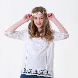 Hollow Fiber Australia - New hot women's seven-point sleeve bohemian hollow lace national wind European and American T-shirt polyester fiber