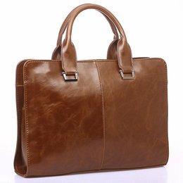 $enCountryForm.capitalKeyWord Australia - Men's Leather Shoulder Messenger Bags Business Work Bag Laptop Briefcase Handbag Color, Brown