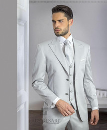 three piece jackets design Canada - New Design Two Buttons Silver Grey Satin Wedding Men Suits Peak Lapel New Three Pieces Business Groom Tuxedos (Jacket+Pants+Vest+Tie) W959