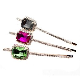 Rose gold cRystal haiR accessoRies online shopping - 1Pair Women Girls Trendy Square Hair Pins Rose Gold Clear Crystal Hair Barrettes Black Rhinestone Accessories Clips