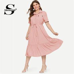 4b8979c13b066 Sheinside Plus Size Pocket Detail A Line Dress Women 2019 Summer Short  Sleeve Dresses Ladies Solid High Waist Ruffle Hem Dress