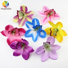 banquet flowers NZ - High Quality 12cm Artificial orchid flower heads ,silk Flowers for Wedding Party Banquet Decorative Flowers DIY 50pcs lot C18112601