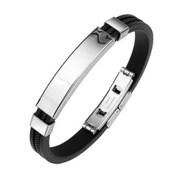 stainless steel pulseras hombre UK - Fashion Wristband Black Punk Rubber Silicone Silver Smooth Stainless Steel Charm Men Bracelets Bangles Pulseras Hombre Caucho