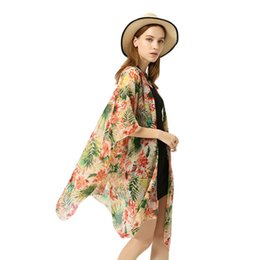 496ac15fe6 Womens Beach 3 4 Sleeves Swimsuit Cover Up Colored Boho Tropical Leaves  Floral Printed Kimono Cardigan Side Split Oversized