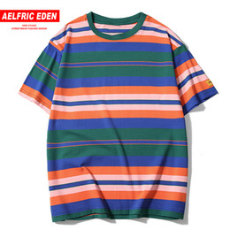 nylon blocks NZ - Aelfric Eden Color Block Striped Short Streetwear Men 2019 Summer Hip Hop Harajuku Casual Tees Male Tops Shirts C19040402