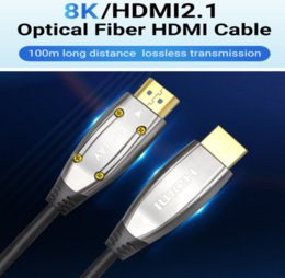 Wholesale Customizable length Enthusiast level Optical Fiber Cable HDMI 2.1 48Gbps Ultra High Speed 8K 4K 120 60Hz support UHD HDR VRR High Definition