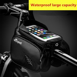 Wholesale Bicycle touch screen saddle bag mountain bike front beam bag touch screen mobile phone tube bag riding equipment neutral waterproof mountain