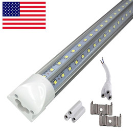 Foot Cooler Australia - LED Tube 8FT V Shaped 4 Feet 5FT 6FT 8FT LED T8 Integrated Tube Cooler Door Double Sides SMD2835 LED Fluorescent Tube Light