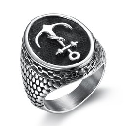 Finger rings anchor online shopping - Anchor Ring Stainless Steel for Men Pirate Ship Punk Rock Style Finger Ring For Men Boy Biker Ring Movie Fashion Jewelry