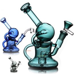 Wholesale Mini Bong Glass Recycler Dab Rig with bowl or quartz banger funtional water pipe oil rigs ball bongs wax dabbing pipes