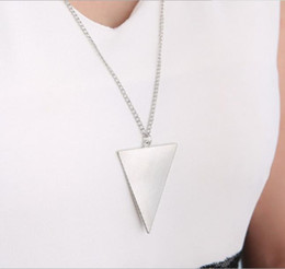 Necklaces Pendants Australia - Pendant Necklaces Punk Gold Silver Black Long Necklace Fashion Womens Triangle Pendants Chain Sweater Necklace Jewelry 3 Colors WCW102