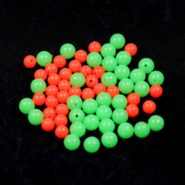 float stopper UK - Fishing Lures 100pcs Fishing Space Beans Luminous Round Float Balls Stopper Glow Rigging Beads Plastic Tackle Lure Accessories Red Green