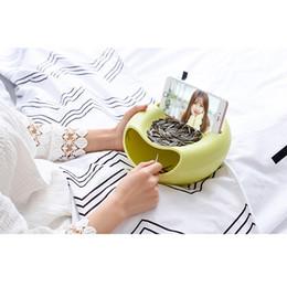 Venta al por mayor de Snack Bowl Doble plato Tuerca Bowl con soporte para teléfono móvil Ranura Sirviendo para pistacho Semillas de girasol Cacahuetes Edamame