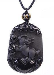 alloys chinese UK - Genuine Fahion Jewelry Natural Black Obsidian Carved Chinese Zodiac Hare Lucky Amulet Pendant Free Necklace