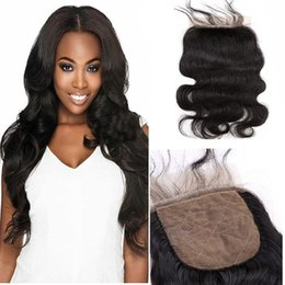 "human hair weave part silk closures UK - Top Lace Closure Brazilian Human Hair Closure Silk Base Closures Free Part Body Wave 8""-18"" Hair Pieces Natural Color Dyeable Greatremy"