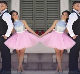 Cheap Party Tutus Australia - Sparkling Sequined Prom Dresses A Line Short Party Dress Cheap Tutu Skirt Zipper Back Formal Evening Dresses Homecoming Gown DH188