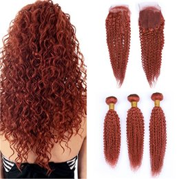 $enCountryForm.capitalKeyWord Australia - #350 Orange Kinky Curly Peruvian Human Hair Weave Bundles with Closure 3Pcs Pure Orange 4x4 Lace Front Closure with Curly Hair Wefts