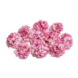 Chinese  4.5CM Silk Hydrangea Flower Head for Wedding Party Home Decoration Artificial Flower DIY Wreath Gift Box Scrapbook Craft manufacturers